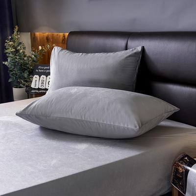 2019新款160g水晶绒枕套 48cmX74cm 023   灰色