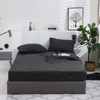 2019新款针织天竺棉床笠床罩 150cmx200cm 001 黑白细条