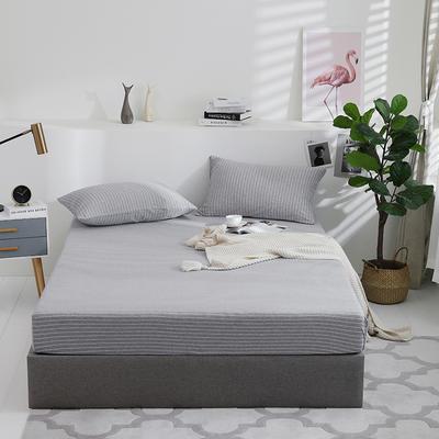2019新款针织天竺棉床笠床罩 150cmx200cm 003 灰白细条