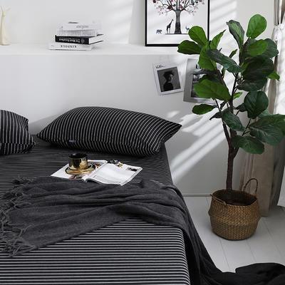 2019新款针织天竺棉枕套 48cmX74cm 001黑白细条