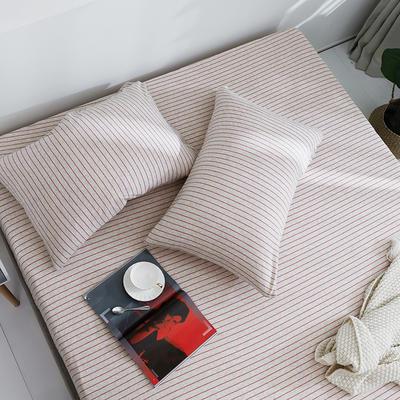 2019新款针织天竺棉枕套 48cmX74cm 002棕红细条