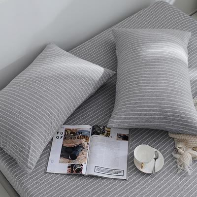 2019新款针织天竺棉枕套 48cmX74cm 003灰白细条