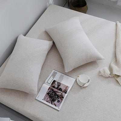 2019新款针织天竺棉枕套 48cmX74cm 024浅咖