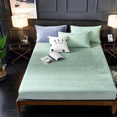 2019新款绒类印花床笠床罩 150*200+28cm 033条纹绿