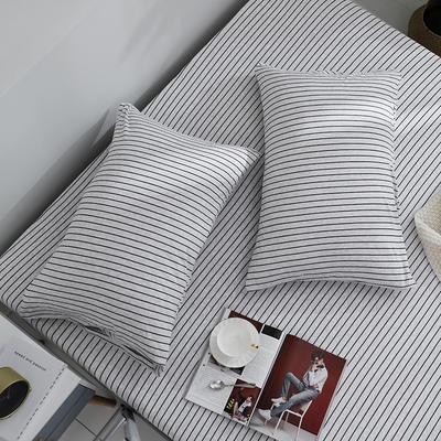 2019新款针织天竺棉枕套 48cmX74cm 004黑灰细条