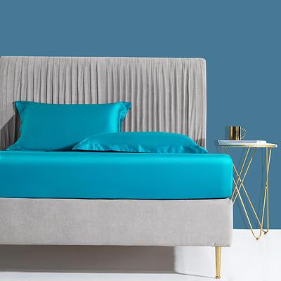 2019新款60s长绒棉床笠床罩 150*200+28cm 金石蓝
