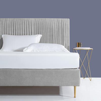 2019新款60s长绒棉床笠床罩 150*200+28cm 珍珠白
