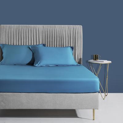 2020新款60支长绒棉贡缎纯色床笠 150x200cm+28cm 金石蓝