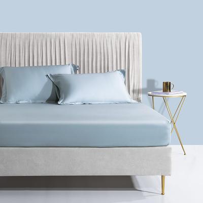 2020新款60支长绒棉贡缎纯色床笠 120x200cm+28cm 空间蓝