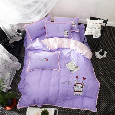 2019新款-卡通绣花套件四件套 床单款1.2m(4英尺)床 爱无限(紫)