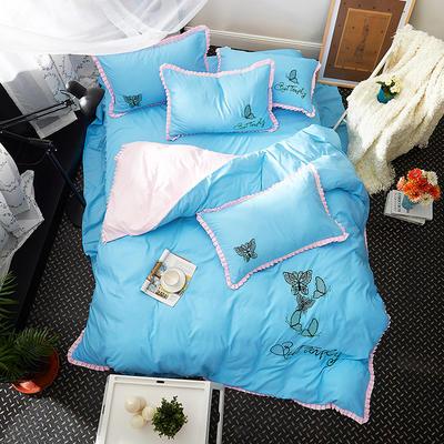 2019新款-卡通绣花套件四件套 床单款1.2m(4英尺)床 蝶蕾(蓝)