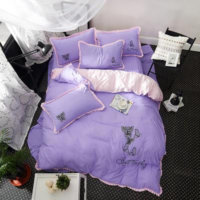 2019新款-卡通绣花套件四件套 床单款1.2m(4英尺)床 蝶蕾(紫)