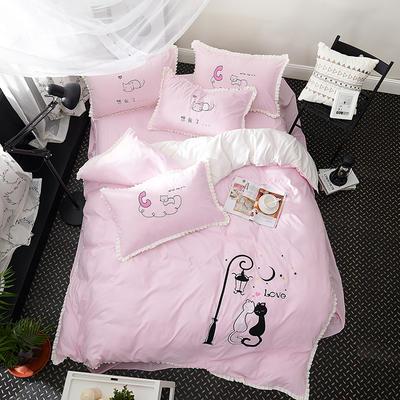 2019新款-卡通绣花套件四件套 床单款1.2m(4英尺)床 猫之爱侣(粉)
