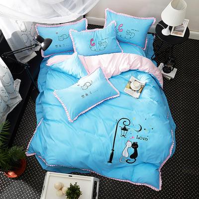 2019新款-卡通绣花套件四件套 床单款1.2m(4英尺)床 猫之爱侣(蓝)