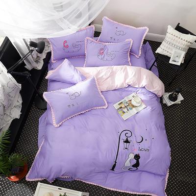 2019新款-卡通绣花套件四件套 床单款1.2m(4英尺)床 猫之爱侣(紫)