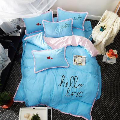 2019新款-卡通绣花套件四件套 床单款1.2m(4英尺)床 怦然心动(蓝)