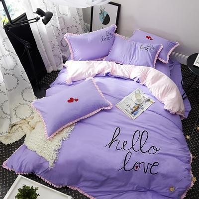 2019新款-卡通绣花套件四件套 床单款1.2m(4英尺)床 怦然心动(紫)