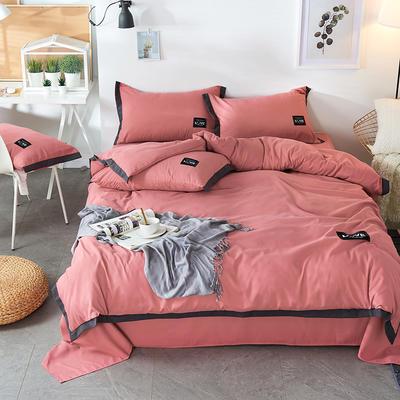 2019新款-磨毛可可款磨毛四件套 床单款1.8m(6英尺)床 可可-豆沙色