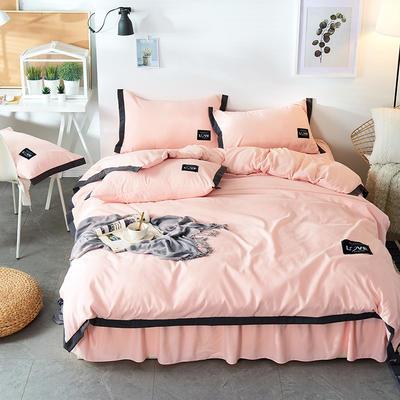 2019新款-磨毛可可款磨毛四件套 床单款1.8m(6英尺)床 可可-粉