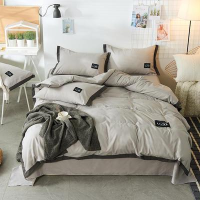 2019新款-磨毛可可款磨毛四件套 床单款1.8m(6英尺)床 可可-灰