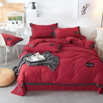 2019新款-磨毛可可款磨毛四件套 床单款1.8m(6英尺)床 可可-酒红