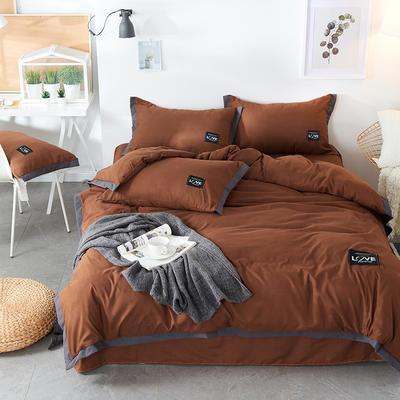 2019新款-磨毛可可款磨毛四件套 床单款1.8m(6英尺)床 可可-咖啡色