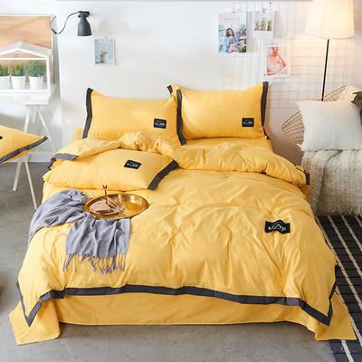 2019新款-磨毛可可款磨毛四件套 床单款1.2m(4英尺)床 可可-柠檬黄