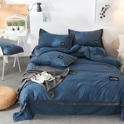 2019新款-磨毛可可款磨毛四件套 床单款1.8m(6英尺)床 可可-深海蓝