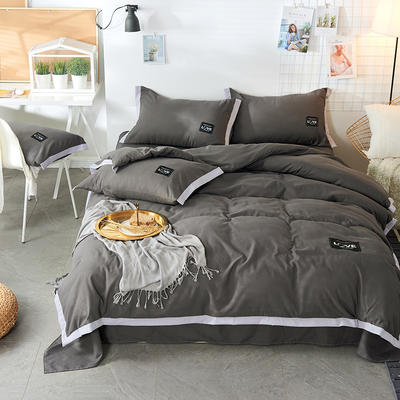 2019新款-磨毛可可款磨毛四件套 床单款1.8m(6英尺)床 可可-深灰