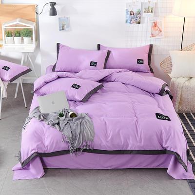 2019新款-磨毛可可款磨毛四件套 床单款1.8m(6英尺)床 可可-香芋紫