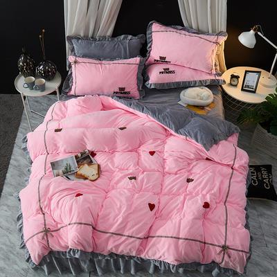 2019新款-韩版水晶绒毛巾绣四件套 床裙款1.5m(5英尺)床 公主-粉