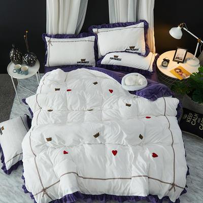 2019新款-韩版水晶绒毛巾绣四件套 床裙款1.5m(5英尺)床 公主-紫