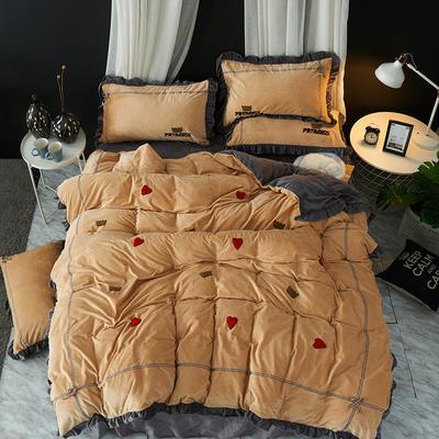 2019新款-韩版水晶绒毛巾绣四件套 床裙款1.5m(5英尺)床 公主-棕