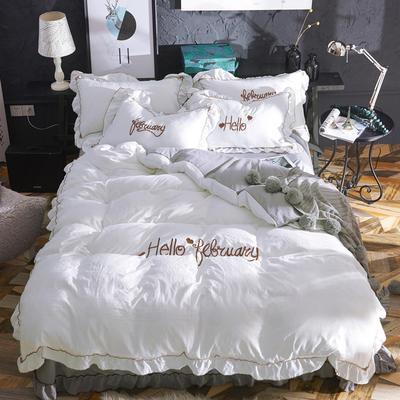 2019新款-韩版水洗棉四件套 床单款1.2m(4英尺)床 白+灰