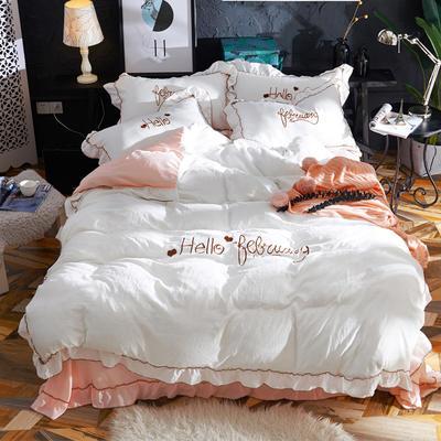 2019新款-韩版水洗棉四件套 床单款1.8m(6英尺)床 白+玉