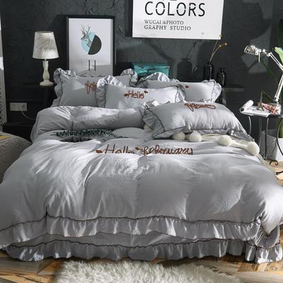 2019新款-韩版水洗棉四件套 床单款1.8m(6英尺)床 灰色