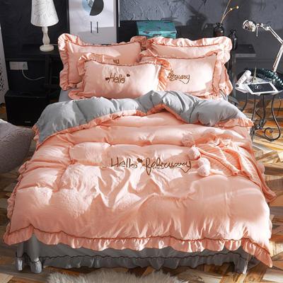 2019新款-韩版水洗棉四件套 床单款1.8m(6英尺)床 玉+灰