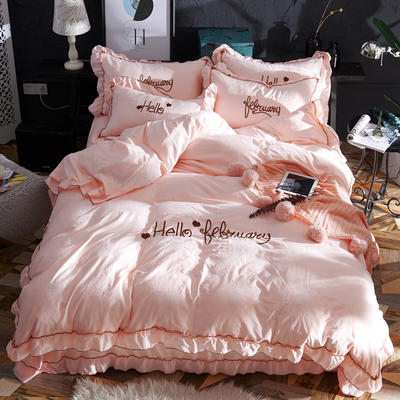 2019新款-韩版水洗棉四件套 床单款1.5m(5英尺)床 玉色
