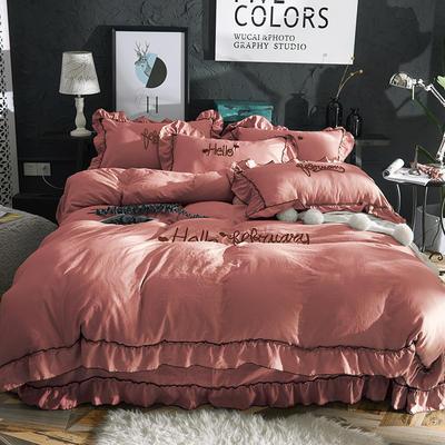 2019新款-韩版水洗棉四件套 床单款1.5m(5英尺)床 豆沙