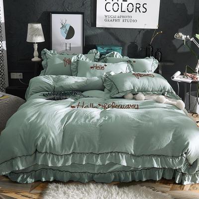 2019新款-韩版水洗棉四件套 床单款1.8m(6英尺)床 墨绿