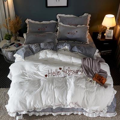 2019新款-水洗棉水晶绒系列四件套 床单款1.2m(4英尺)床 白云