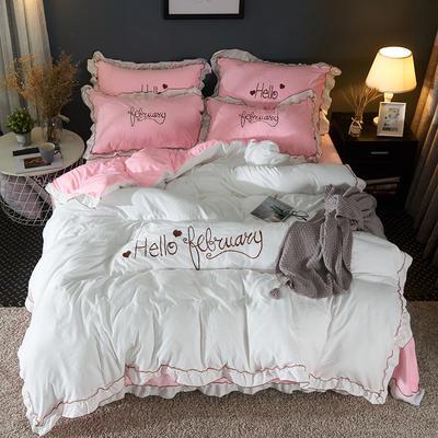2019新款-水洗棉水晶绒系列四件套 床单款1.2m(4英尺)床 海棠