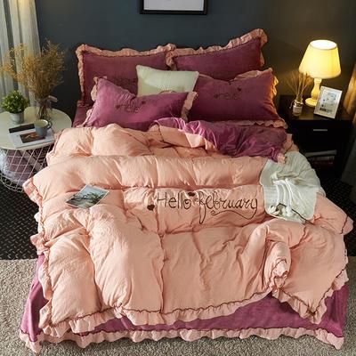 2019新款-水洗棉水晶绒系列四件套 床单款1.2m(4英尺)床 幽兰