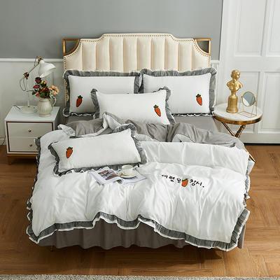 2019新款-磨毛毛巾绣萝卜公主四件套 床裙款1.5m(5英尺)床 白色