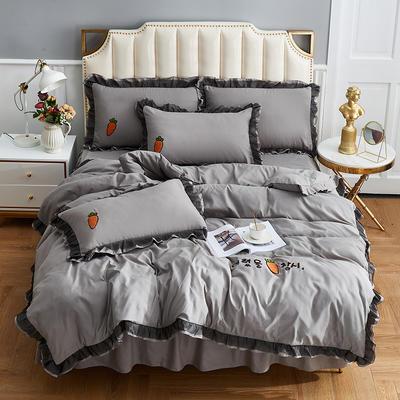2019新款-磨毛毛巾绣萝卜公主四件套 床裙款1.5m(5英尺)床 灰色