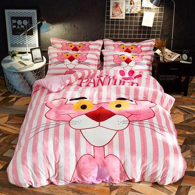 2019新款-大版法莱绒四件套 1.2m(4英尺)床 粉色豹