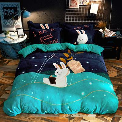 2019新款-大版法莱绒四件套 1.2m(4英尺)床 漂流兔