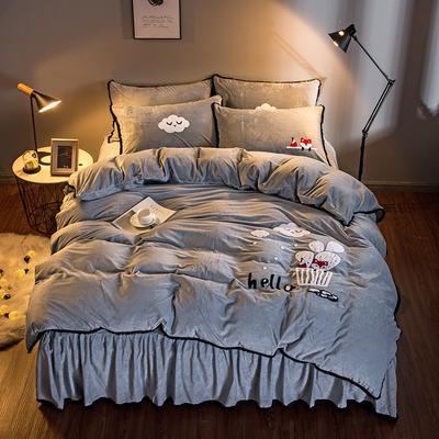 2019新款-韩版水晶绒毛巾绣四件套 床裙款1.5m(5英尺)床 小尾巴-灰
