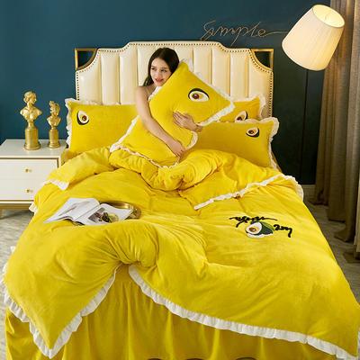2019新款韩版微芙绒四件套 1.8m床裙款四件套 赛琳娜-柠檬黄