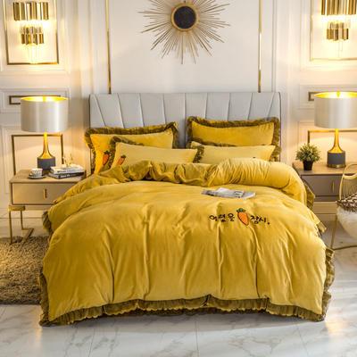 2019新款蕾丝韩版水晶绒四件套 1.5m床单款四件套 暖黄